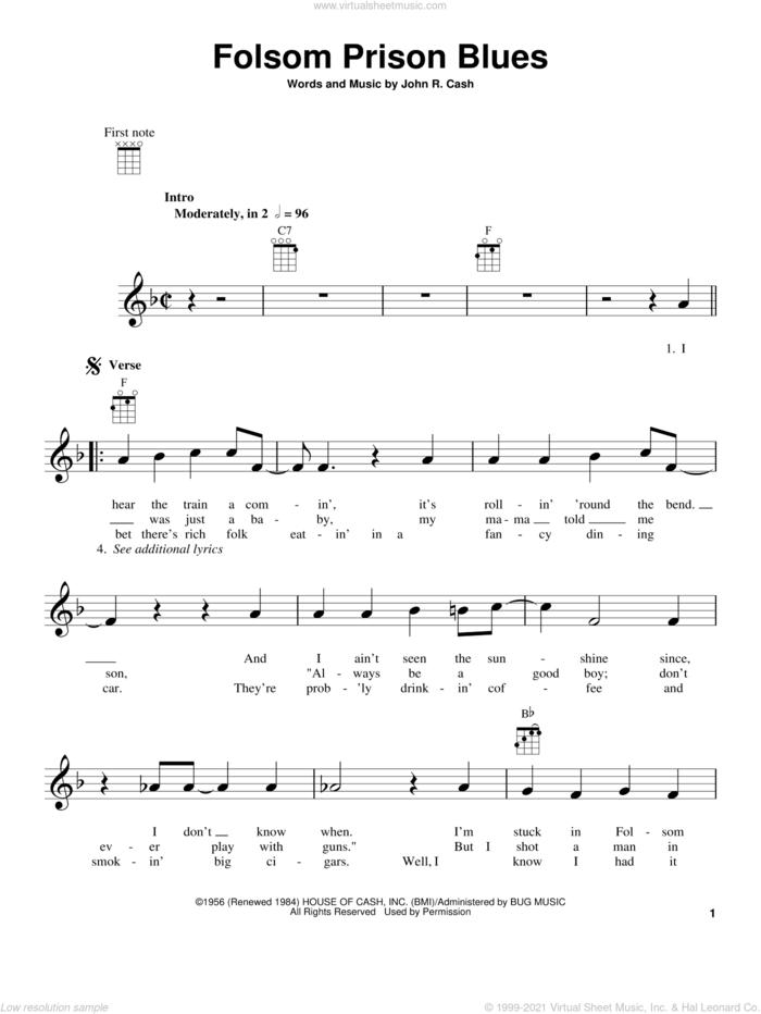 Folsom Prison Blues sheet music for ukulele by Johnny Cash, intermediate skill level