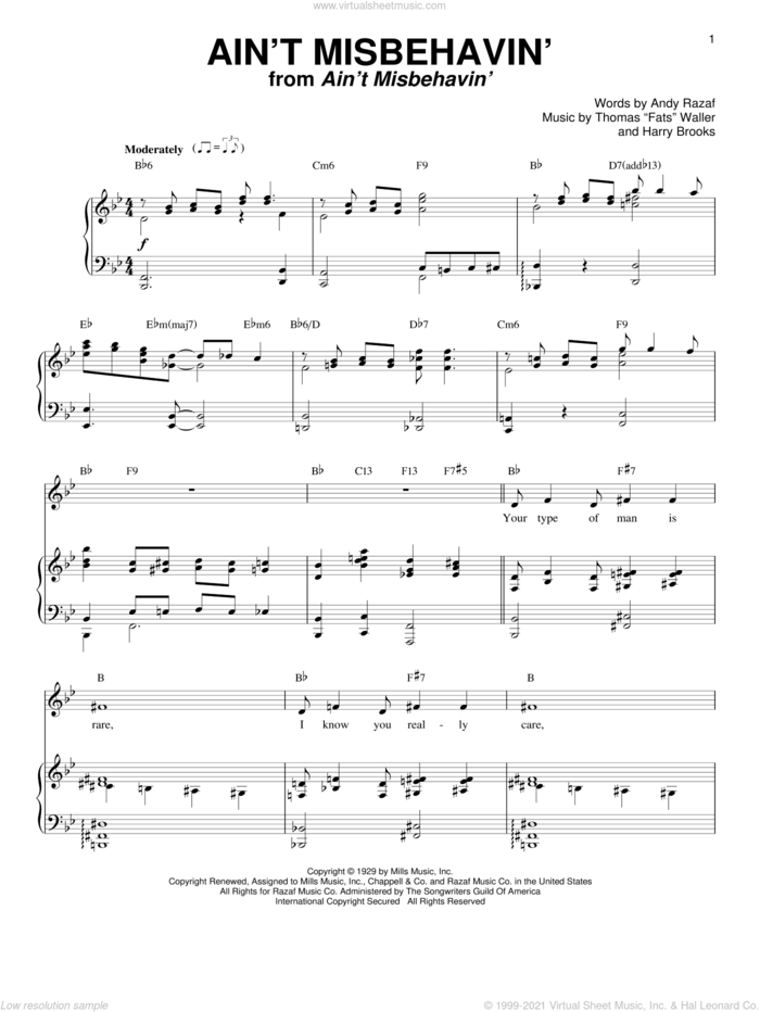 Ain't Misbehavin' sheet music for voice and piano by Andy Razaf, Louis Armstrong, Thomas Waller, Thomas Waller and Harry Brooks, intermediate skill level