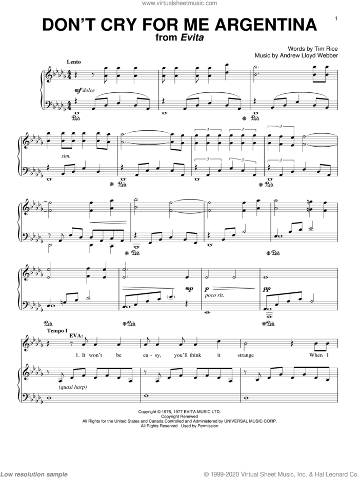 Don't Cry For Me Argentina sheet music for voice and piano by Andrew Lloyd Webber, Evita (Musical), Madonna and Tim Rice, intermediate skill level