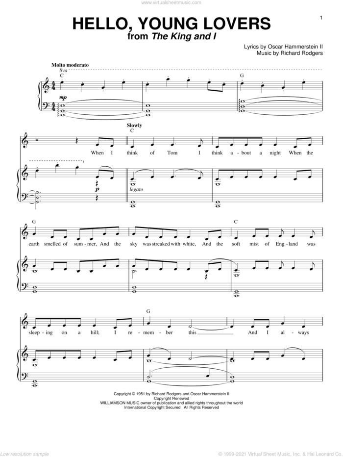 Hello, Young Lovers sheet music for voice and piano by Rodgers & Hammerstein, The King And I (Musical), Oscar II Hammerstein and Richard Rodgers, intermediate skill level