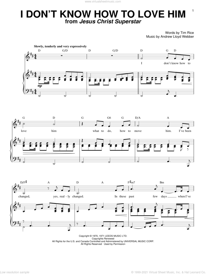 I Don't Know How To Love Him sheet music for voice and piano by Helen Reddy, Jesus Christ Superstar (Musical), Shirley Bassey, Yvonne Elliman, Andrew Lloyd Webber and Tim Rice, intermediate skill level