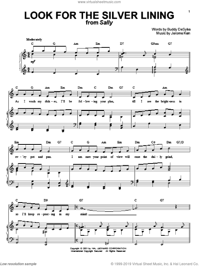 Look For The Silver Lining sheet music for voice and piano by Judy Garland, Chet Baker, Margaret Whiting, Buddy DeSylva and Jerome Kern, wedding score, intermediate skill level