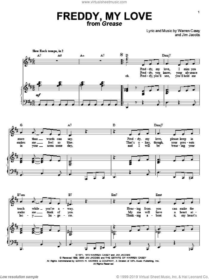 Freddy, My Love sheet music for voice and piano by Cindy Bullens, Grease (Musical), Jim Jacobs and Warren Casey, intermediate skill level
