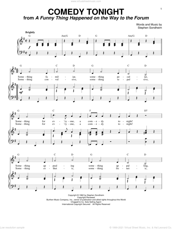 Comedy Tonight sheet music for voice and piano by Stephen Sondheim, intermediate skill level