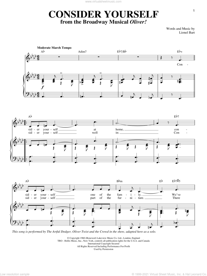 Consider Yourself sheet music for voice and piano by Michael Goodman, Judy Garland, Oliver!, Oliver! (Musical) and Lionel Bart, intermediate skill level