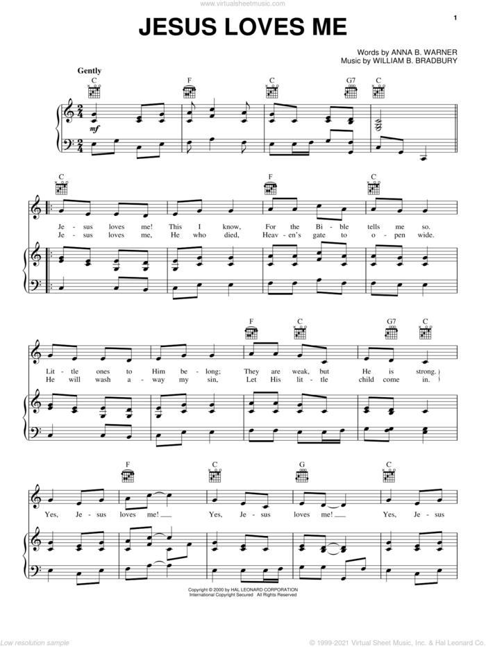 Jesus Loves Me sheet music for voice, piano or guitar by Anna B. Warner and William B. Bradbury, intermediate skill level