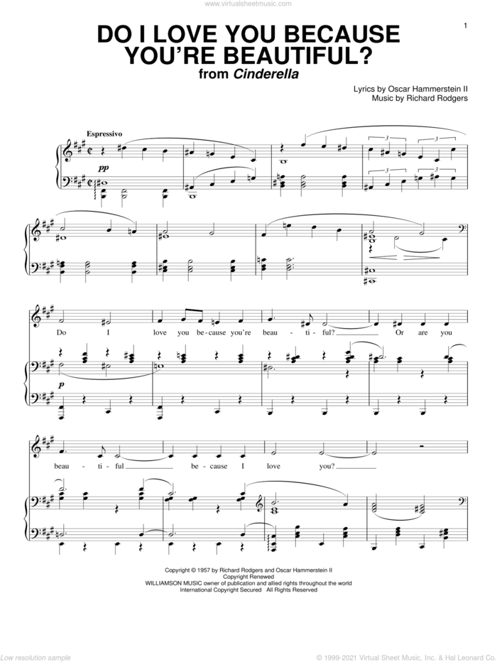 Do I Love You Because You're Beautiful? sheet music for voice and piano by Rodgers & Hammerstein, Cinderella (Musical), Oscar II Hammerstein and Richard Rodgers, wedding score, intermediate skill level