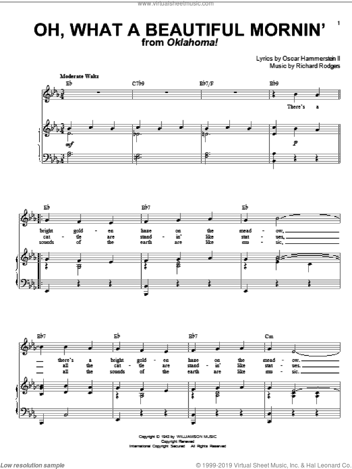 Oh, What A Beautiful Mornin' (from Oklahoma!) sheet music for voice and piano by Rodgers & Hammerstein, Oklahoma! (Musical), Oscar II Hammerstein and Richard Rodgers, intermediate skill level