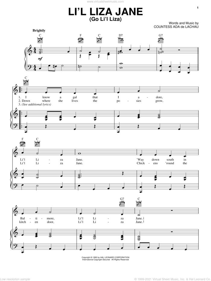 Li'l Liza Jane (Go Li'l Liza) sheet music for voice, piano or guitar by Countess Ada De Lachau, intermediate skill level