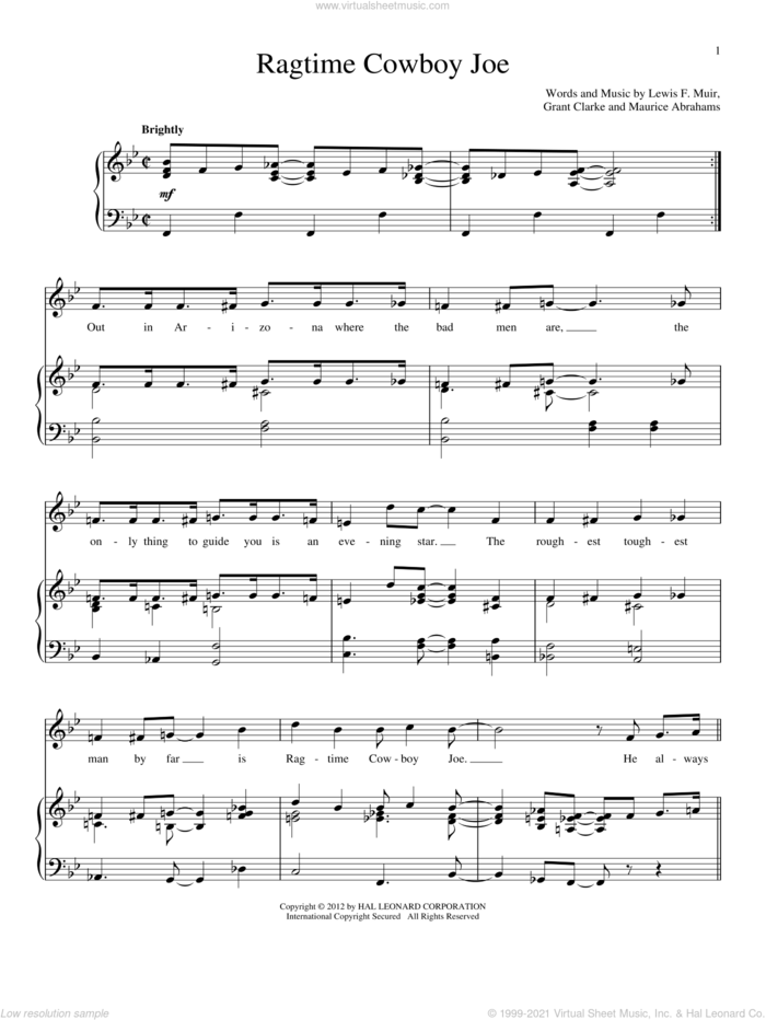 Ragtime Cowboy Joe sheet music for voice and piano by Belle Baker, Grant Clarke, Lewis F. Muir and Maurice Abrahams, intermediate skill level