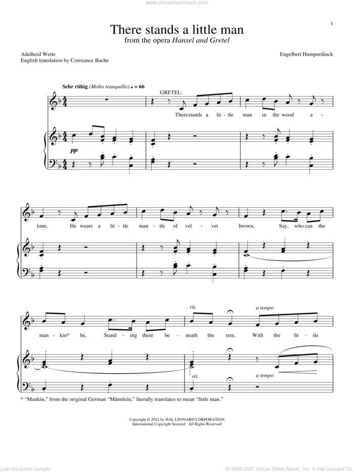 There Stands A Little Man sheet music for voice and piano by Constance Bache and Adelheid Wette, intermediate skill level