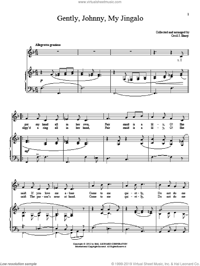 Gently, Johnny, My Jingalo sheet music for voice and piano by Cecil J. Sharp, intermediate skill level