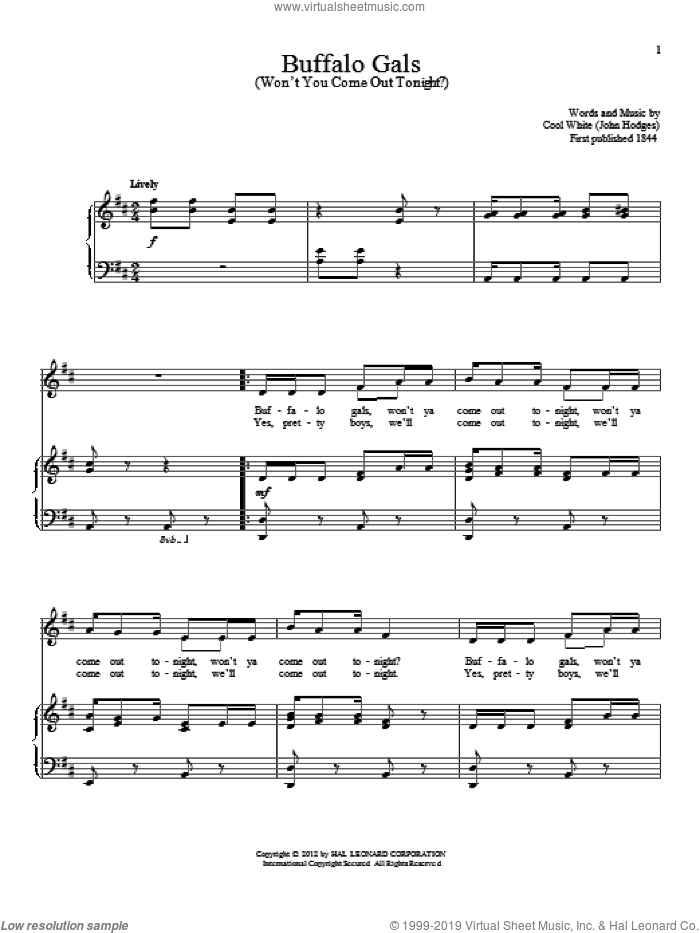 Buffalo Gals (Won't You Come Out Tonight?) sheet music for voice and piano by Cool White and John Hodges, intermediate skill level