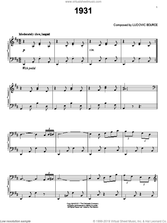 1931 sheet music for piano solo by Ludovic Bource and The Artist (Movie), intermediate skill level
