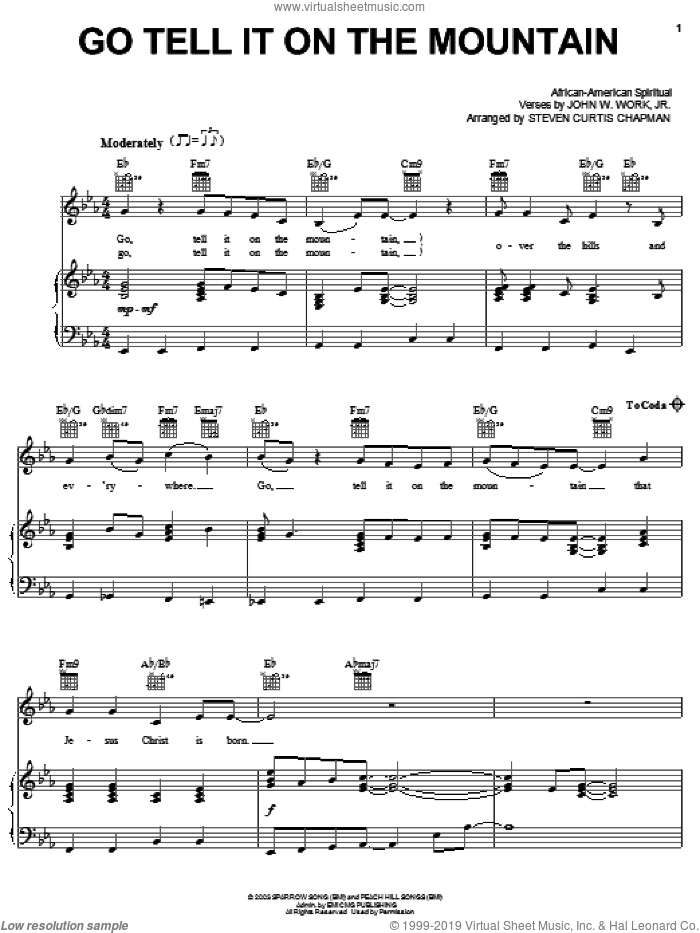 Go, Tell It On The Mountain sheet music for voice, piano or guitar by Steven Curtis Chapman, John W. Work, Jr. and Miscellaneous, intermediate skill level