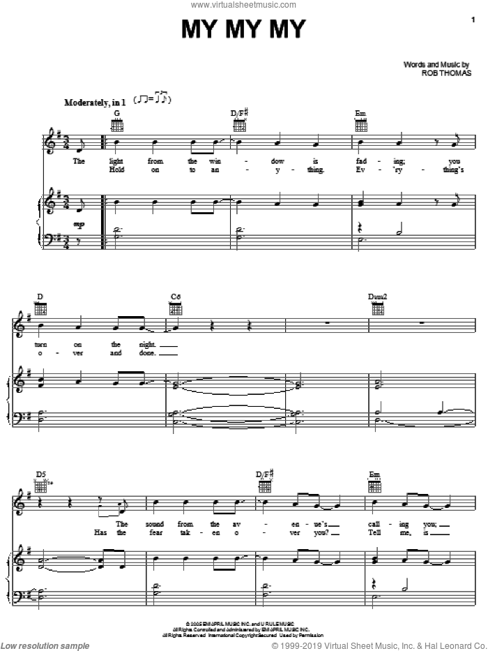 My My My sheet music for voice, piano or guitar by Rob Thomas, intermediate skill level