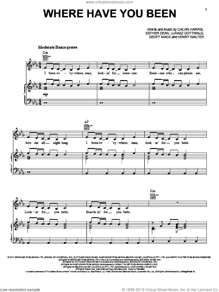 Where Have You Been sheet music for voice, piano or guitar by Rihanna, Calvin Harris, Ester Dean, Geoff Mack, Henry Walter and Lukasz Gottwald, intermediate skill level