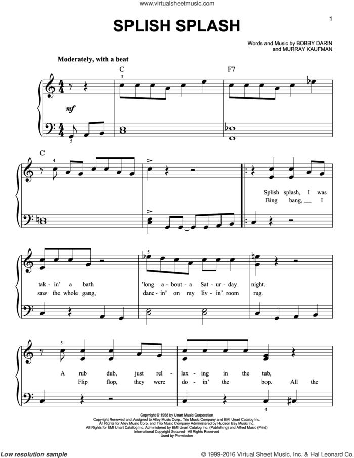 Splish Splash sheet music for piano solo by Bobby Darin, Sha Na Na and Murray Kaufman, easy skill level