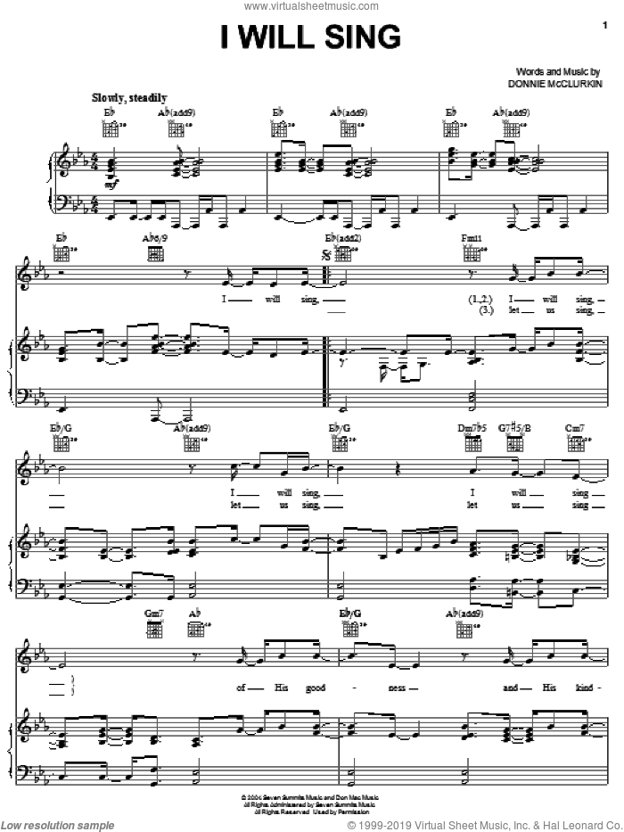 I Will Sing sheet music for voice, piano or guitar by Donnie McClurkin, intermediate skill level