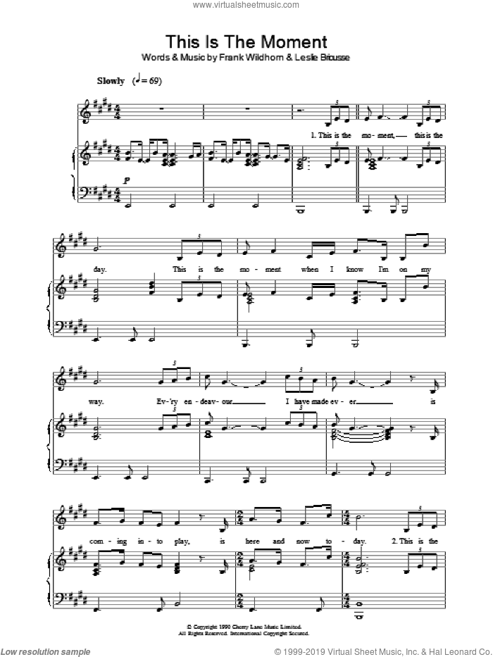 This Is The Moment sheet music for voice, piano or guitar by Leslie Bricusse, Jekyll & Hyde (Musical) and Frank Wildhorn, intermediate skill level