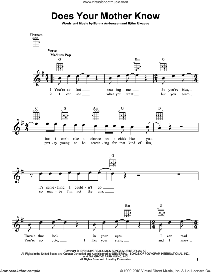 Does Your Mother Know sheet music for ukulele by ABBA, Benny Andersson and Bjorn Ulvaeus, intermediate skill level
