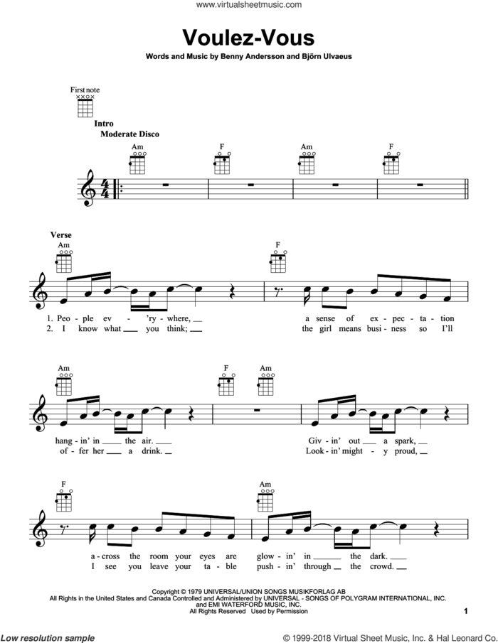 Voulez-Vous sheet music for ukulele by ABBA, Benny Andersson and Bjorn Ulvaeus, intermediate skill level