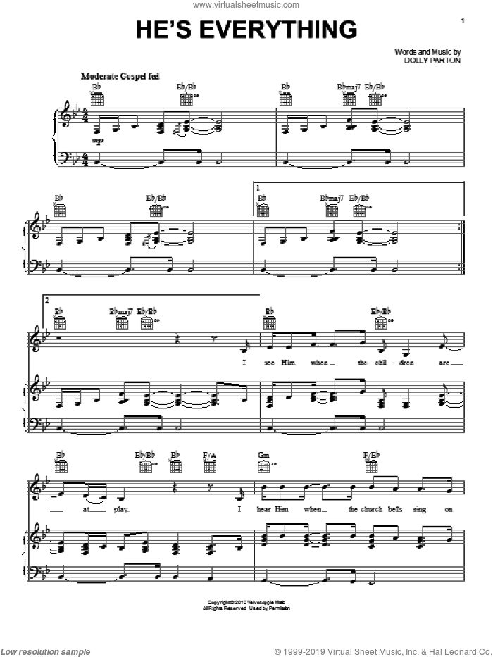 He's Everything sheet music for voice, piano or guitar by Dolly Parton and Joyful Noise (Movie), intermediate skill level