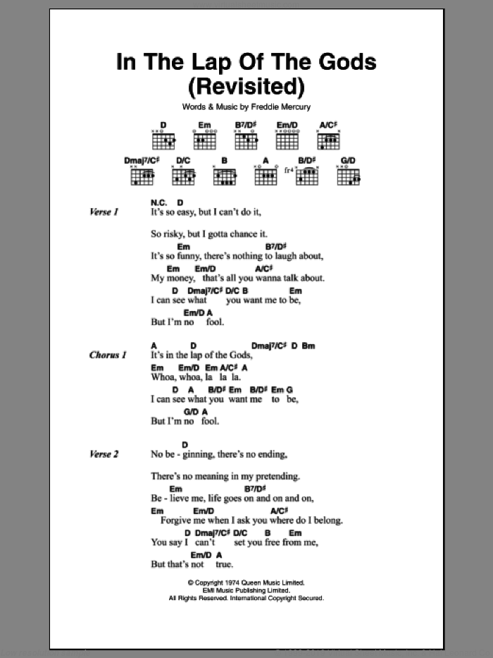 In The Lap Of The Gods (Revisited) sheet music for guitar (chords) by Queen and Frederick Mercury, intermediate skill level
