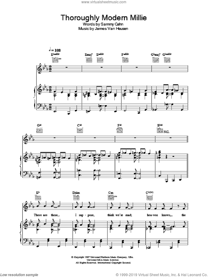 Thoroughly Modern Millie sheet music for voice, piano or guitar by Sammy Cahn, Thoroughly Modern Millie and Jimmy Van Heusen, intermediate skill level