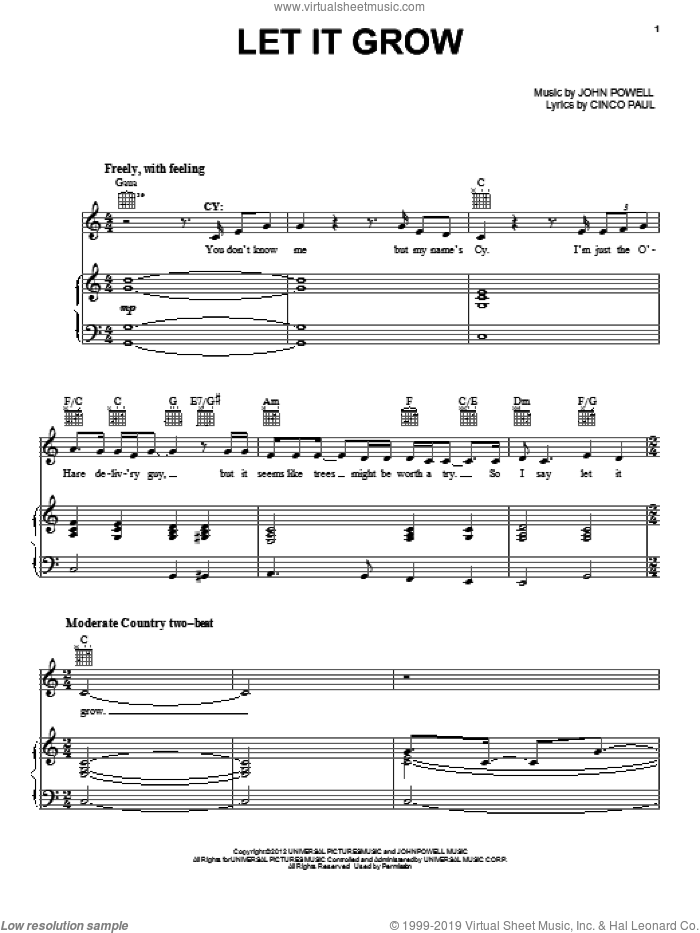 Let It Grow sheet music for voice, piano or guitar by John Powell, The Lorax (Movie) and Cinco Paul, intermediate skill level