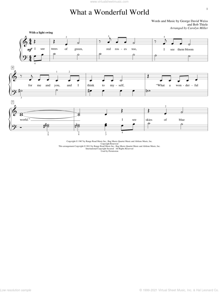 What A Wonderful World sheet music for piano solo (elementary) by Carolyn Miller, John Thompson, Louis Armstrong, Bob Thiele and George David Weiss, beginner piano (elementary)