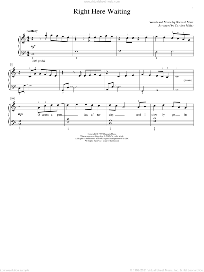 Right Here Waiting sheet music for piano solo (elementary) by Carolyn Miller, John Thompson and Richard Marx, beginner piano (elementary)