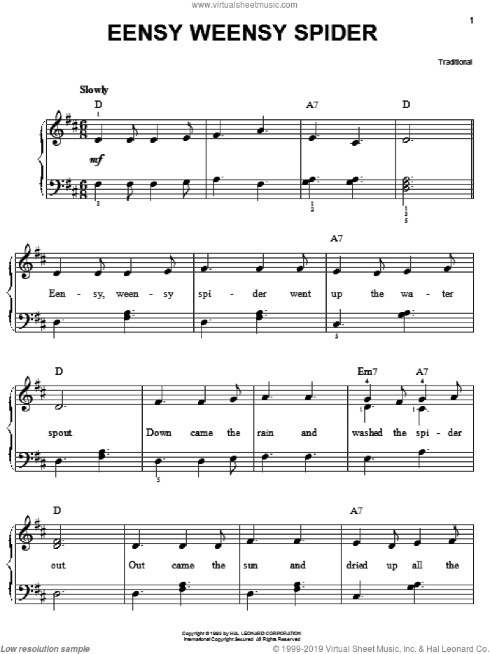 Eensy Weensy Spider sheet music for piano solo, easy skill level