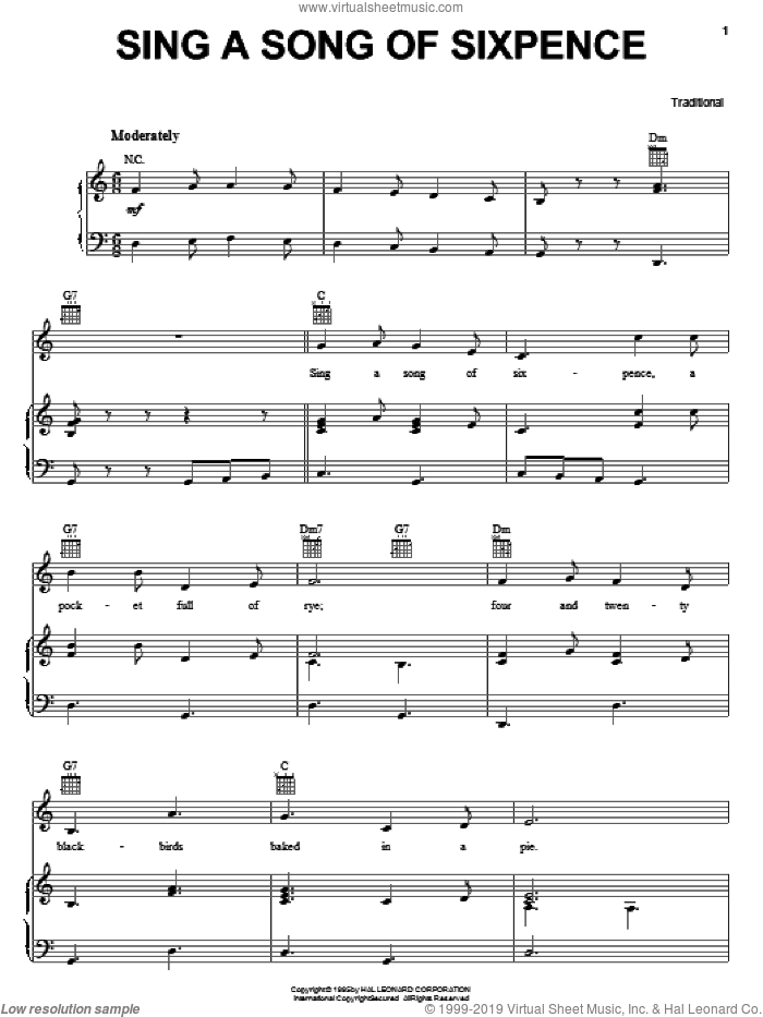 Sing A Song Of Sixpence sheet music for voice, piano or guitar, intermediate skill level