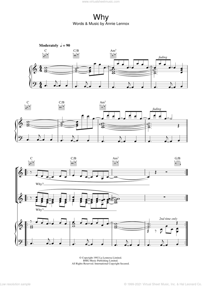 Why sheet music for voice, piano or guitar by Annie Lennox, intermediate skill level