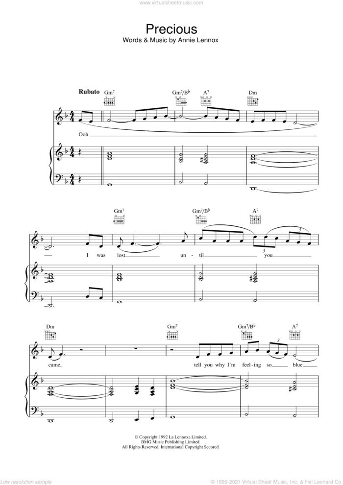 Precious sheet music for voice, piano or guitar by Annie Lennox, intermediate skill level