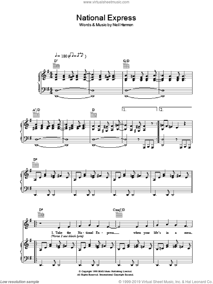 National Express sheet music for voice, piano or guitar by The Divine Comedy and Neil Hannon, intermediate skill level