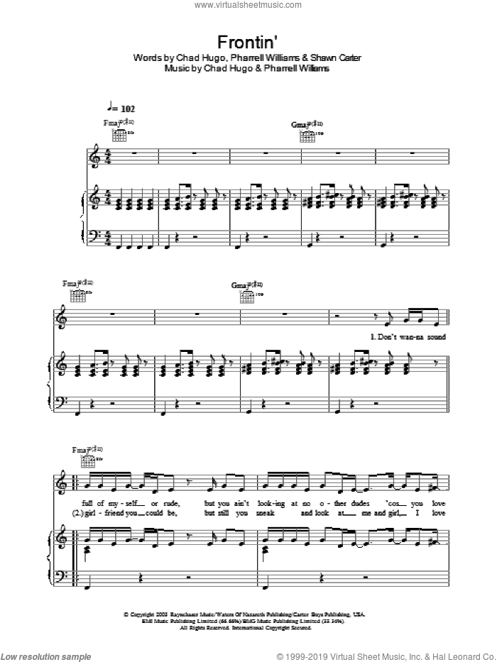 Frontin' sheet music for voice, piano or guitar by Pharrell Williams, Chad Hugo and Shawn Carter, intermediate skill level