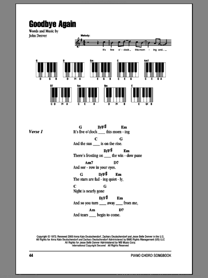 Goodbye Again sheet music for piano solo (chords, lyrics, melody) by John Denver, intermediate piano (chords, lyrics, melody)
