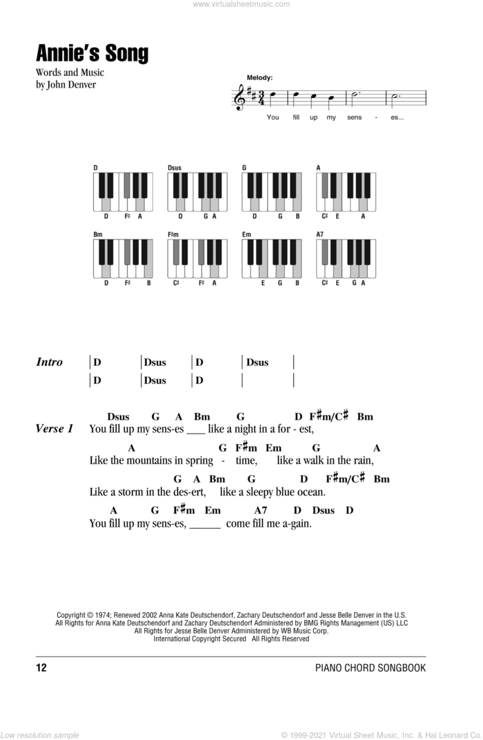 Annie's Song sheet music for piano solo (chords, lyrics, melody) by John Denver, intermediate piano (chords, lyrics, melody)