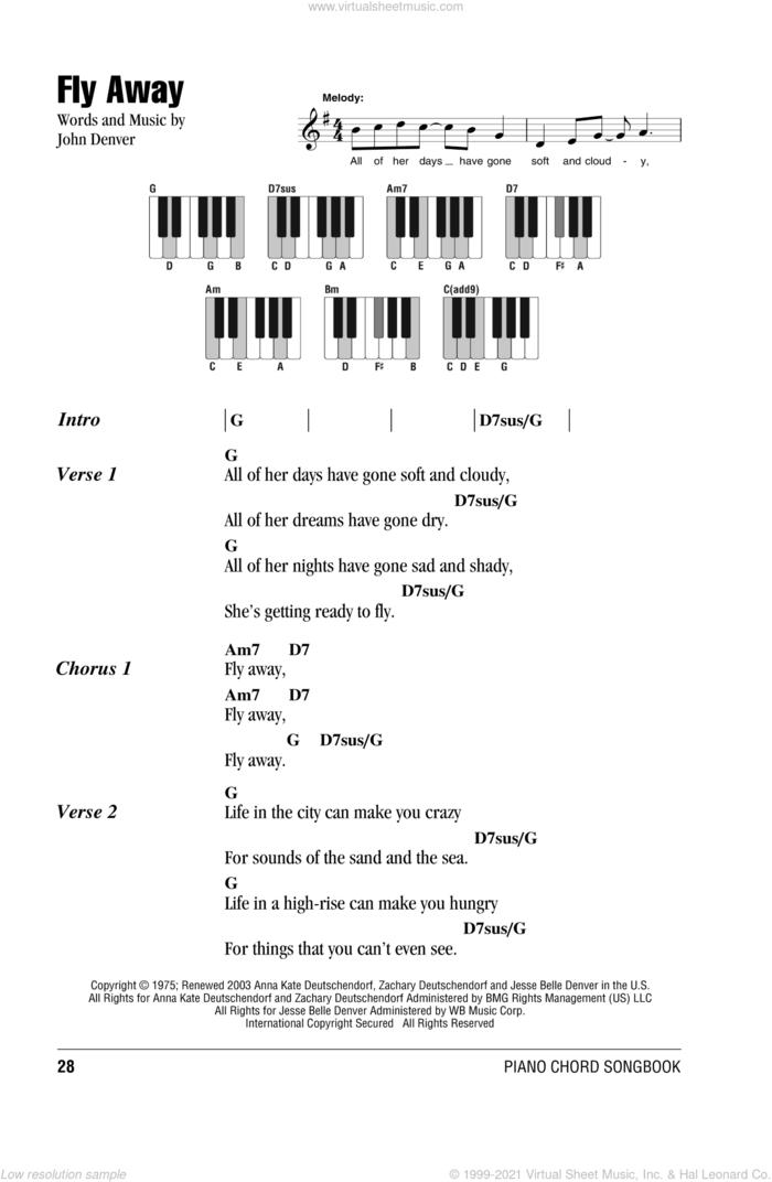 Fly Away sheet music for piano solo (chords, lyrics, melody) by John Denver, intermediate piano (chords, lyrics, melody)