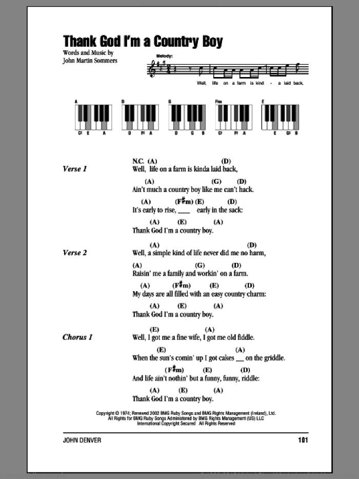 Thank God I'm A Country Boy sheet music for piano solo (chords, lyrics, melody) by John Denver and John Martin Sommers, intermediate piano (chords, lyrics, melody)
