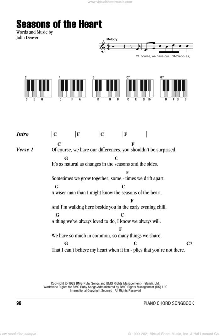 Seasons Of The Heart sheet music for piano solo (chords, lyrics, melody) by John Denver, intermediate piano (chords, lyrics, melody)