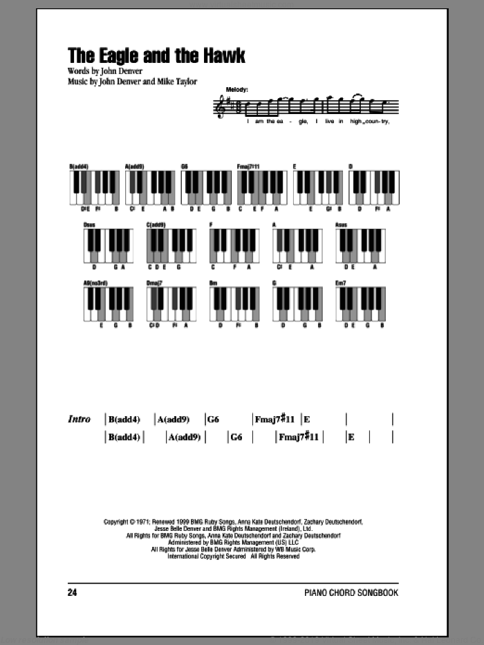 The Eagle And The Hawk sheet music for piano solo (chords, lyrics, melody) by John Denver and Mike Taylor, intermediate piano (chords, lyrics, melody)