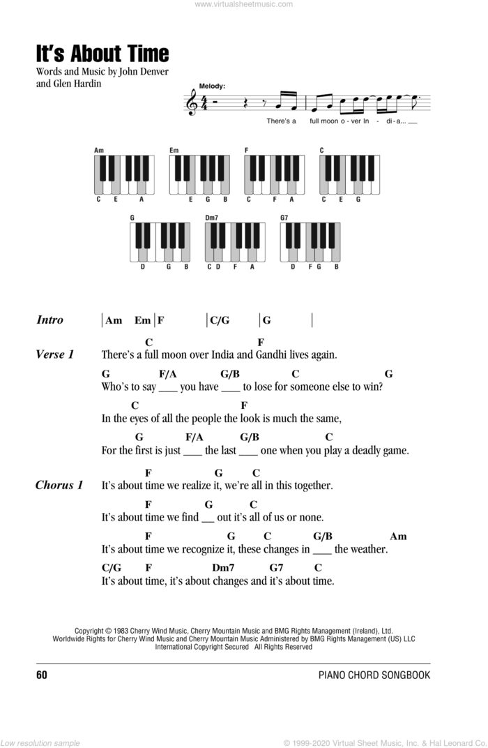 It's About Time sheet music for piano solo (chords, lyrics, melody) by John Denver and Glen Hardin, intermediate piano (chords, lyrics, melody)