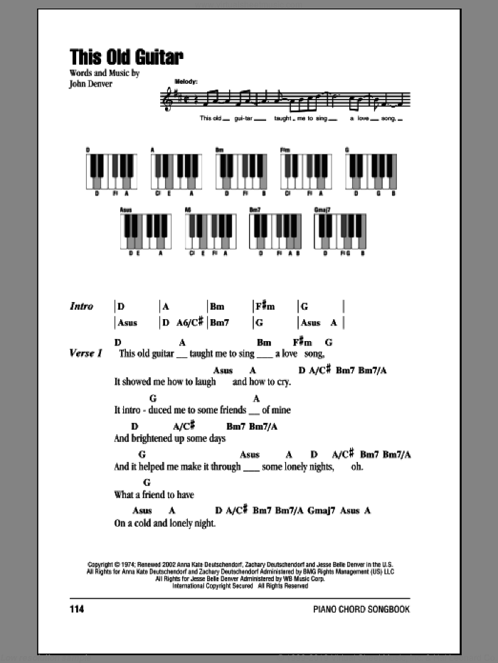 This Old Guitar sheet music for piano solo (chords, lyrics, melody) by John Denver, intermediate piano (chords, lyrics, melody)