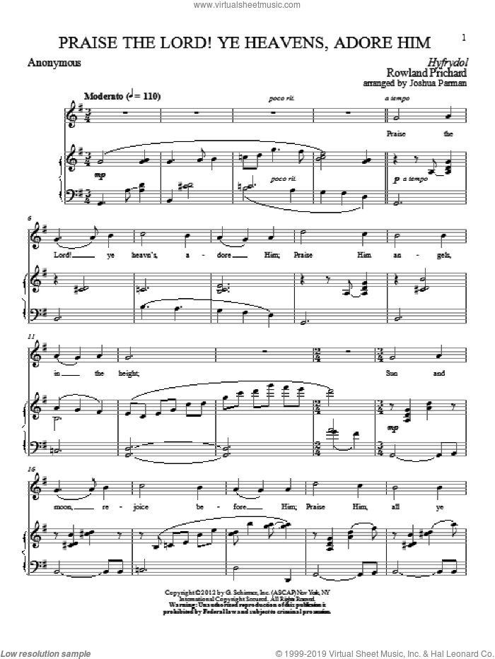 Praise The Lord! Ye Heavens, Adore Him sheet music for voice and piano by Franz Joseph Haydn and Edward Osler, classical score, intermediate skill level