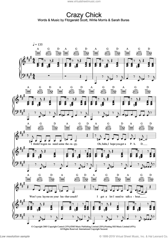 Crazy Chick sheet music for voice, piano or guitar by Charlotte Church, Fitzgerald Scott, Sarah Buras and Wirlie Morris, intermediate skill level