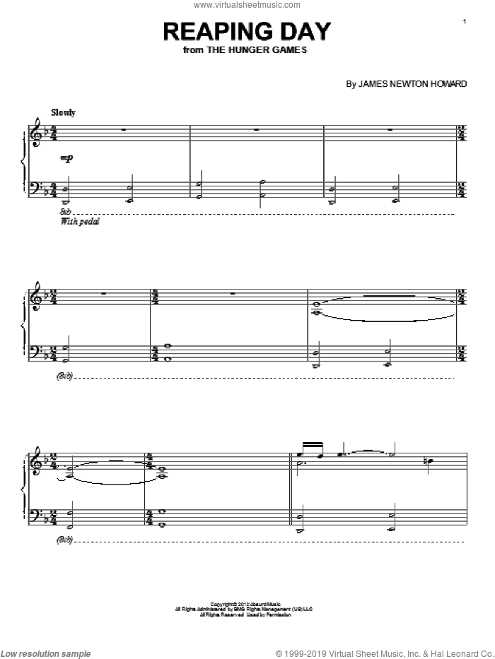 Reaping Day sheet music for piano solo by James Newton Howard, intermediate skill level
