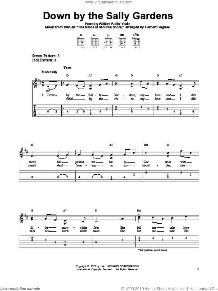 Down By The Sally Gardens sheet music for guitar solo (easy tablature) by William Butler Yeats and Herbert Hughes, easy guitar (easy tablature)